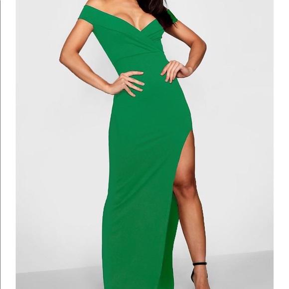 c69d7d9534c51e Wrap Top Off Shoulder Maxi Dress